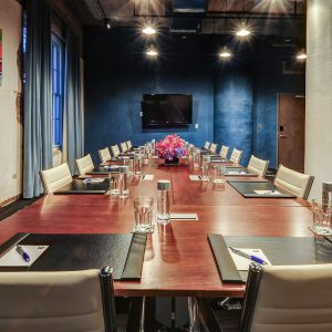 Fully set meeting room space at CANVAS Hotel Dallas