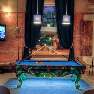 Pool table at CANVAS Dallas