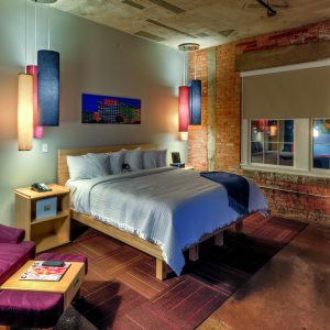 King bed suite at CANVAS Hotel Dallas