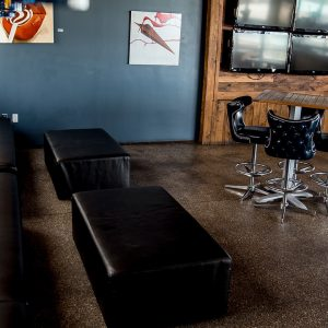 Lounge area at The Gallery Rooftop Bar in Dallas