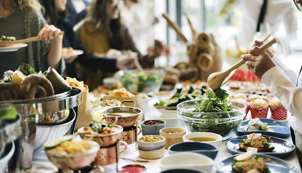 Buffet style dining event at CANVAS Hotel Dallas