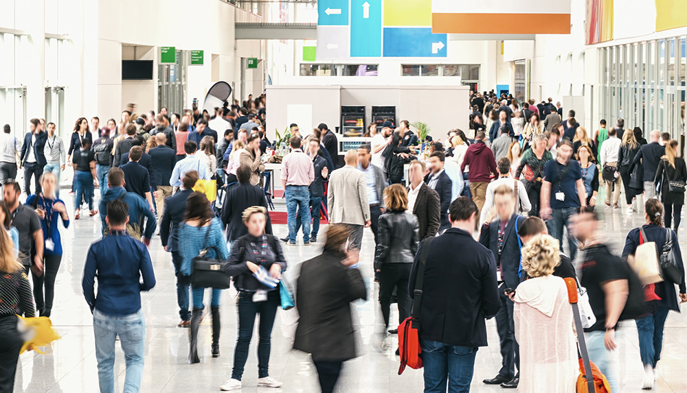 Crowd of People in a Convention Center